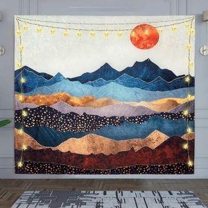 Scandinavian mountain sun wall tapestry small